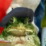French Frog with beret Cropped